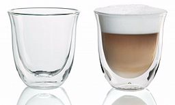 DeLonghi Double Walled Thermo Cappuccino Glasses, 190 ml, Set of 2