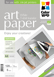 ColorWay Photo paper ART T-shirt transfer (white) 120g/m, A4, 5pc. (PTW120005A4)