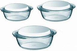 Pyrex Essentials Set of 3 Round Glass Casseroles High Resistance 912S637
