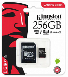 Kingston 256GB microSDHC Canvas Select 80R CL10 UHS-I Card + SD Adapter