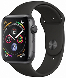 Apple Watch S4 44mm Space Gray Aluminum Case with Black Sport Band (MU6D2ZP)