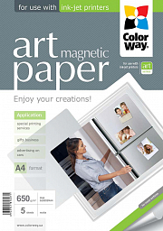 "ColorWay Photo paper ART matte ""magnetic"" 650g/m, A4, 5pc. (PMA650005MA4)"