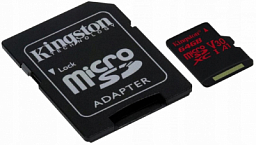Kingston 64GB microSDHC Canvas React 100R/70W U3 UHS-I V30 A1 + SD Adapter