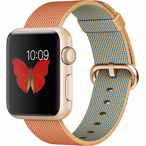 Ağıllı saat Apple Watch sport 38mm Gold Aluminum - Gold/Red Woven Nylon (MMF52LL/A) - Maxi.az