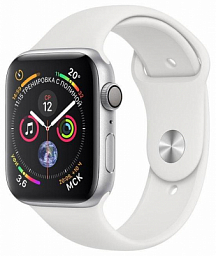 Apple Watch S4 44mm Silver Aluminum case with white Sport Band (MU6A2)