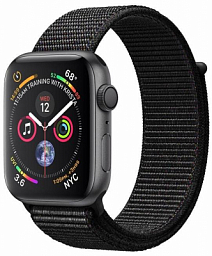 Apple Watch Series 4 44mm Space Gray Aluminum Case with Black Sport Loop (MU6E2)