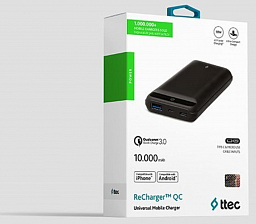 Ttec ReCharger Mini Universal Mobile Charger QC 3.0 10000 mah Black